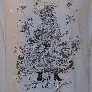 CJ Banks 3X White Sequined Christmas T-Shirt